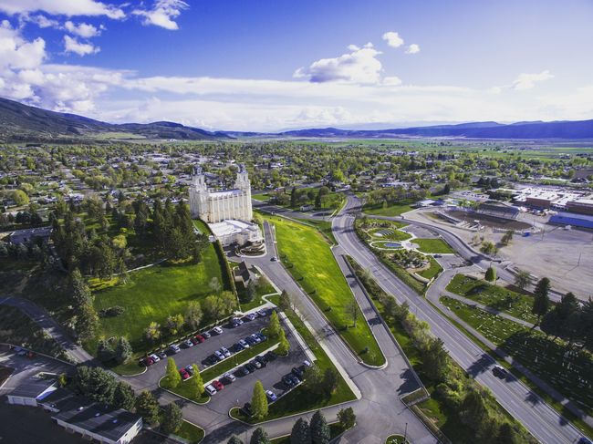 Drone shot of the Manti LDS temple, as well as the city of Manti and the valley behind. Manti Utah Temple Lds Temples Sanpete God Jesus Christ Dronephotography Drone  Quadcopter Landscape Nature Photography First Eyeem Photo