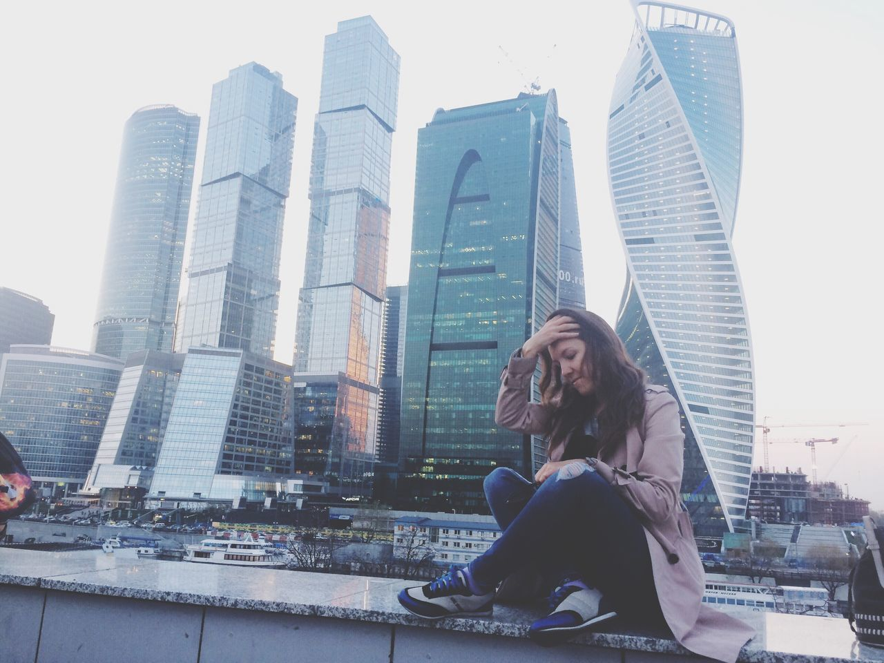 Skyscraper City City Life Downtown District Urban Skyline Young Adult Brown Hair Convenience Sitting Architecture Financial District  Moscow Moscow City Moscow Life Russia Young Women