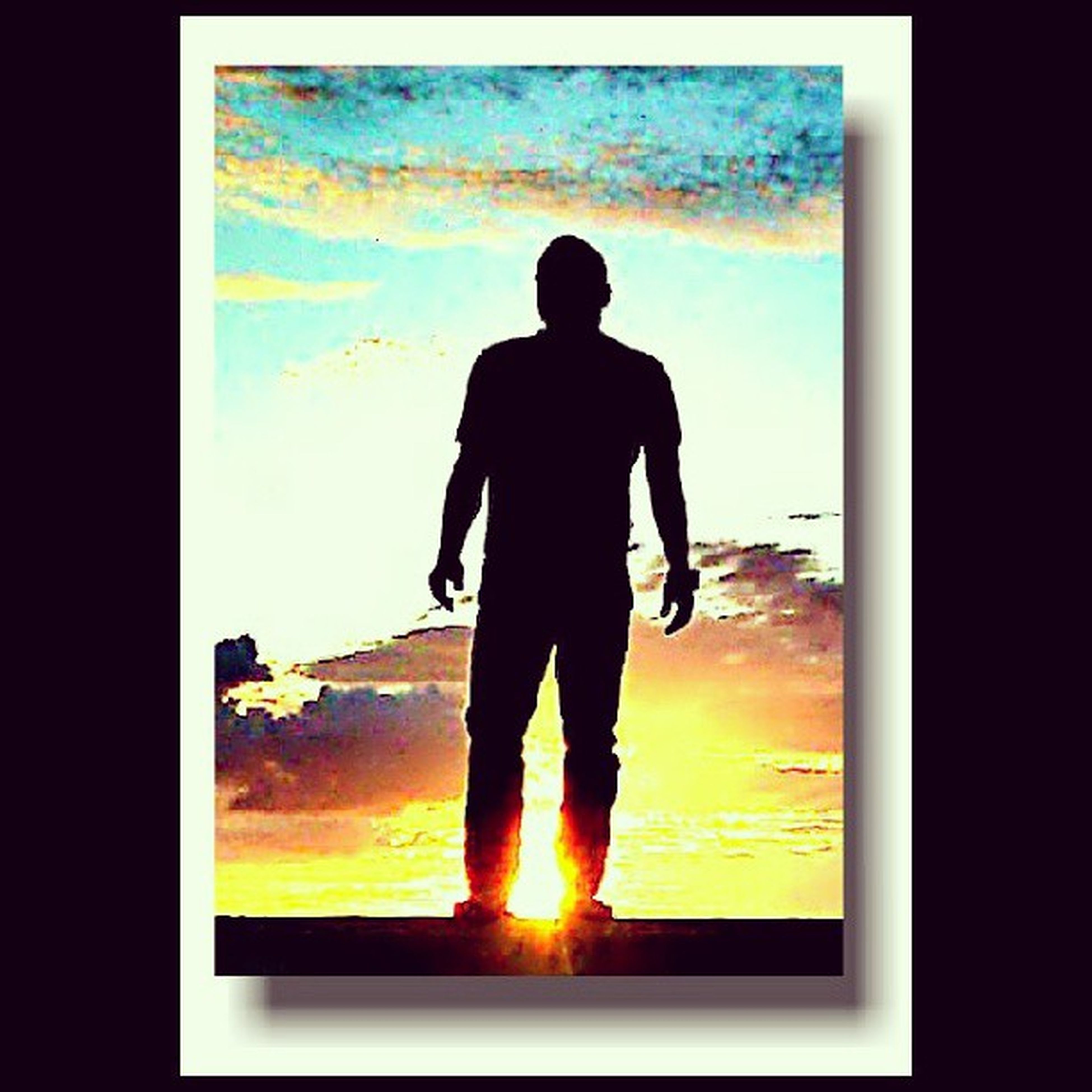 silhouette, sunset, standing, indoors, men, sea, rear view, orange color, full length, water, lifestyles, sky, sun, leisure activity, sunlight, horizon over water, person, nature
