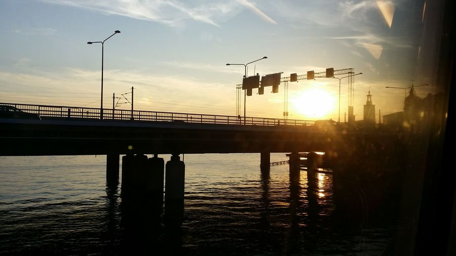 Bridge - Man Made Structure Reflection Water River Horizontal City Sunset Silhouette Outdoors Animal Wildlife Sky No People Day