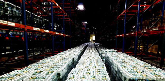 Warehouse Bottled Water Preparing For Hurricane Illuminated Diminishing Perspective Lighting Equipment The Way Forward Vanishing Point Night Straight Surface Level Electric Light No People