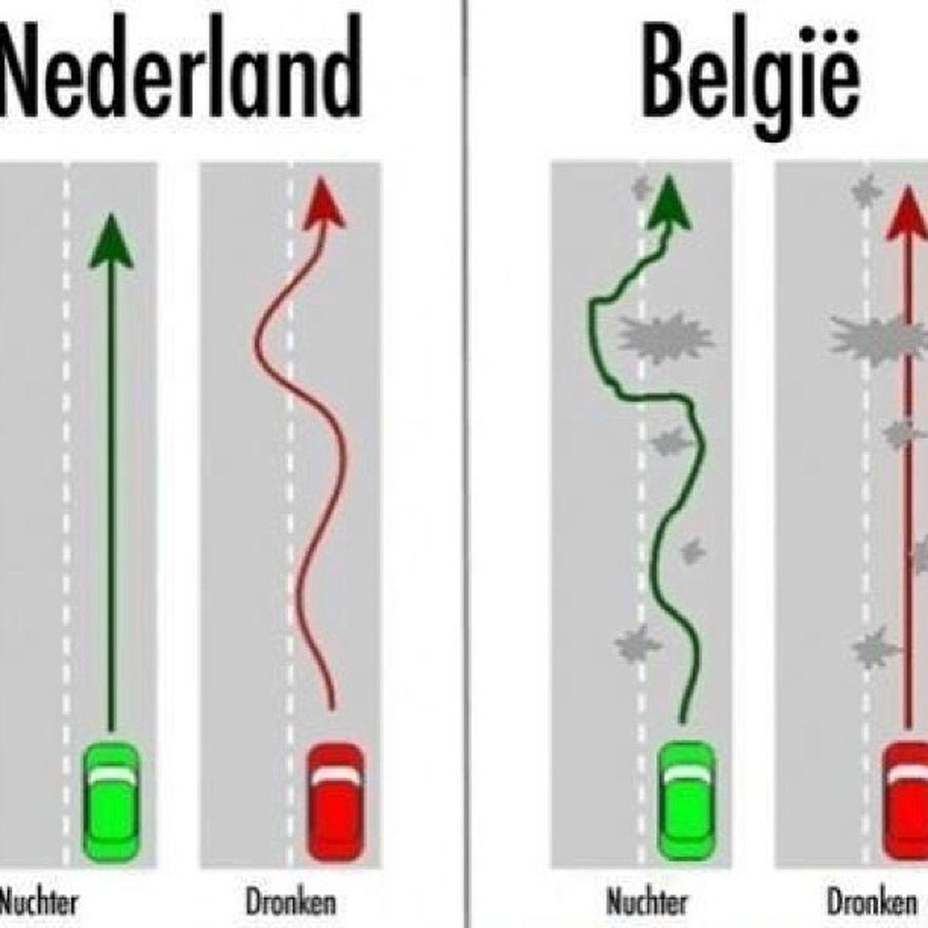 Nederland Belgie Recht Scheef kromwtfnuchterdronkenomgjeetjehahalolautomensengedragbierwijnalchoholsnapjehem