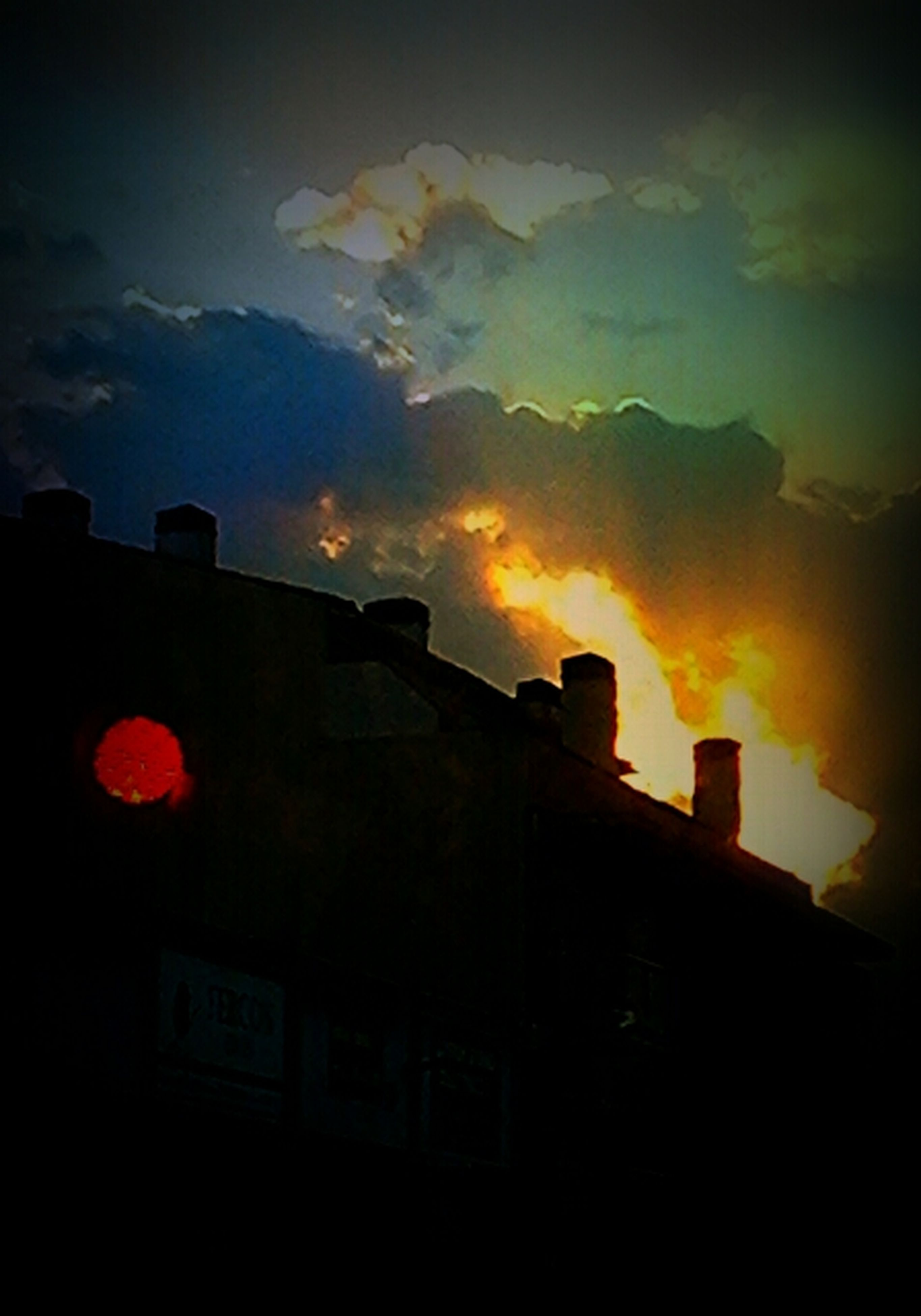 architecture, built structure, building exterior, sunset, sky, low angle view, silhouette, cloud - sky, orange color, cloud, cloudy, dusk, building, dramatic sky, house, outdoors, no people, residential structure, high section, nature