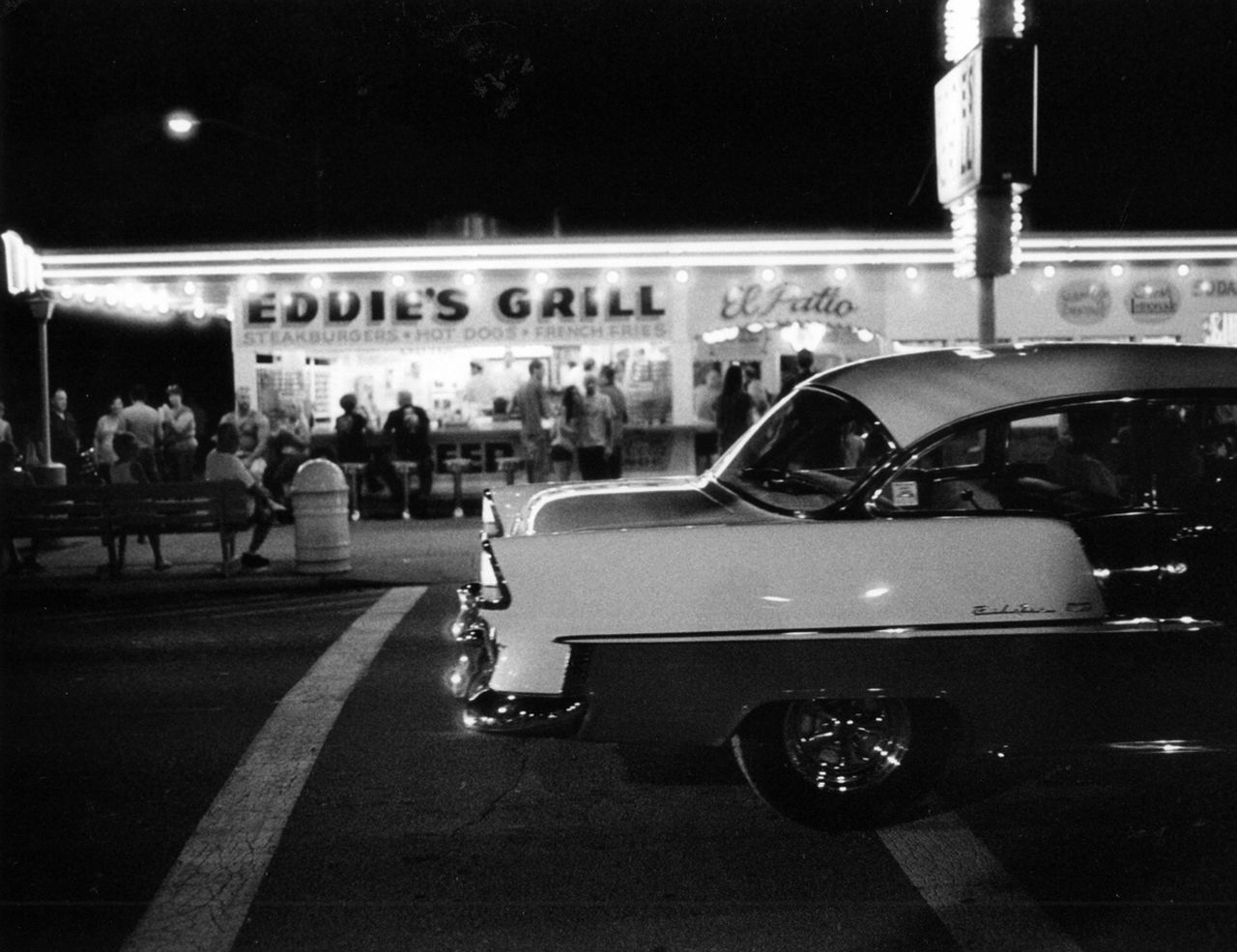Back In The Day Bel Air Building Exterior Car Chevy City Eddie's Grill Film Noir Fun Geneva On The Lake Ohio Leisure Activity Mode Of Transport Night Night Photography Outdoors Real People Resort Road Saturday Night Small Town Small Town USA Street Summer Tourism Transportation
