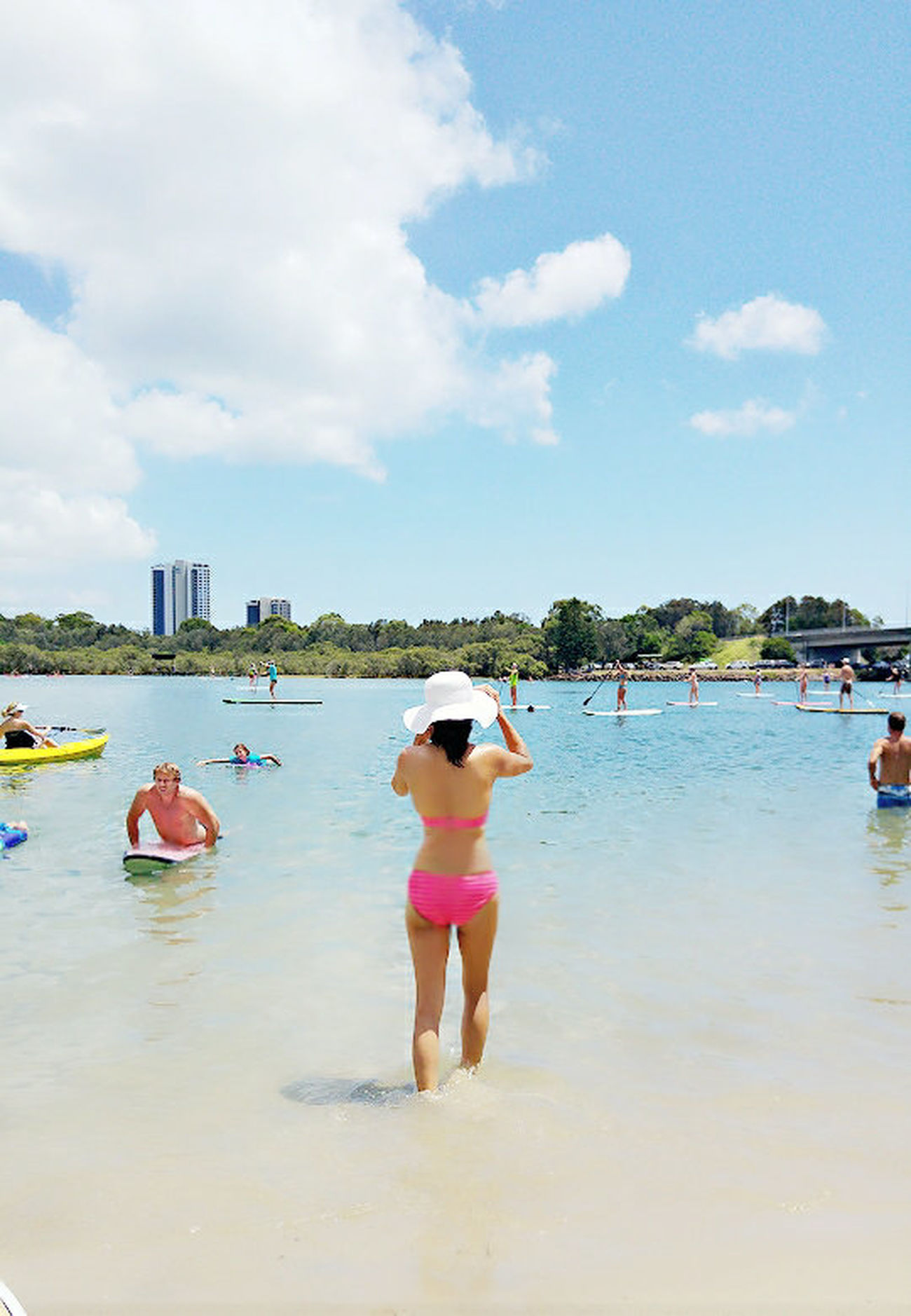 Water Vacations Full Length Rear View Relaxation Travel Travel Destinations Sea Enjoyment Beach Outdoors Women Sky Standing Leisure Activity Paddleboarding Bikinis Beauty In Nature Beach Life Beachside Swimming Summertime Currumbincreek Gold Coast Queensland A Place To Visit Crystal Clear Waters pink bikini