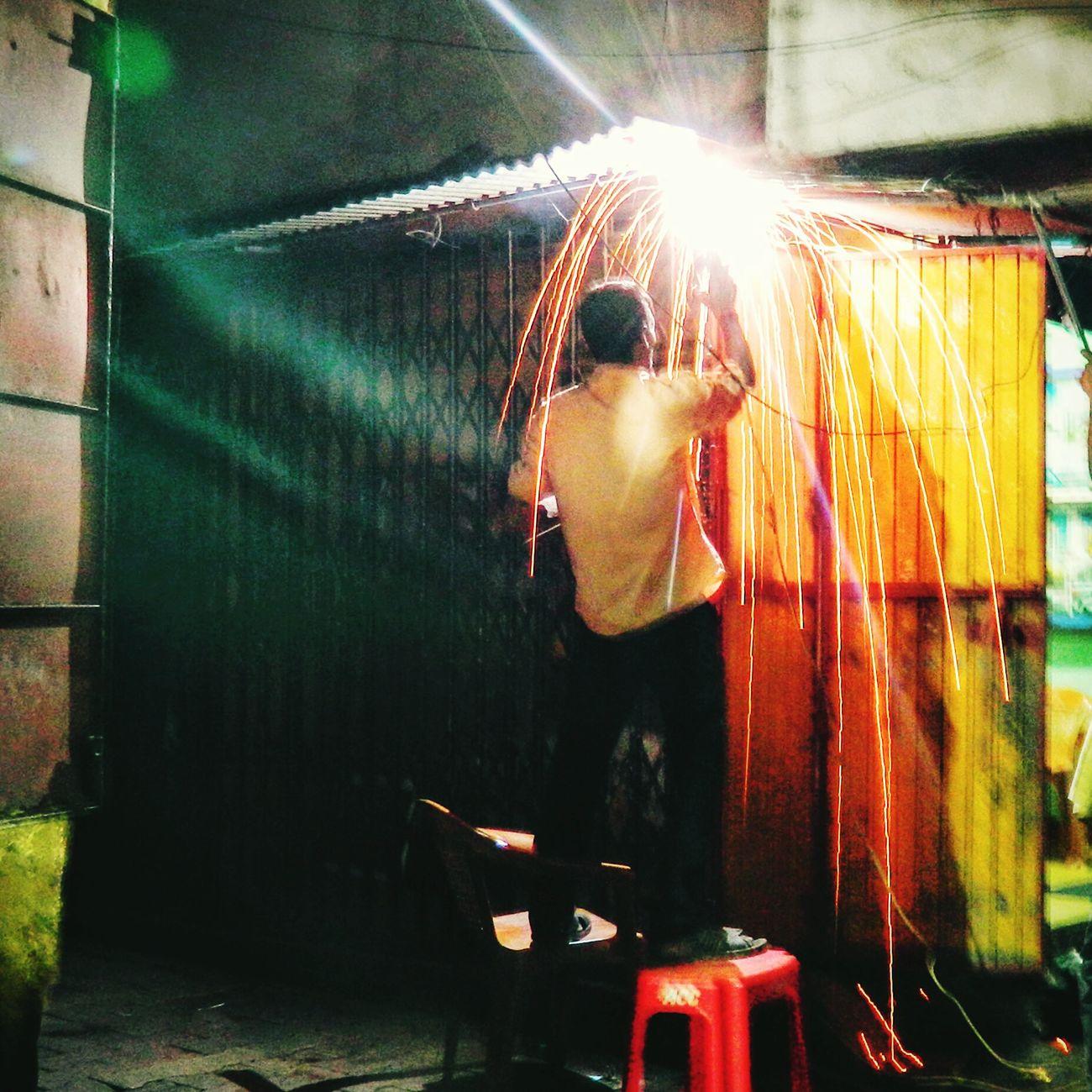 Hard work! Welding Welder Weldinglight Sparks Fly Sparks Exposure