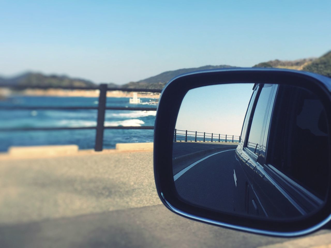 Transportation Side-view Mirror Mode Of Transport Close-up Car Water No People Nature Sky Sea Day Mountain Outdoors Beauty In Nature Fukuoka,Japan Iphonephotography