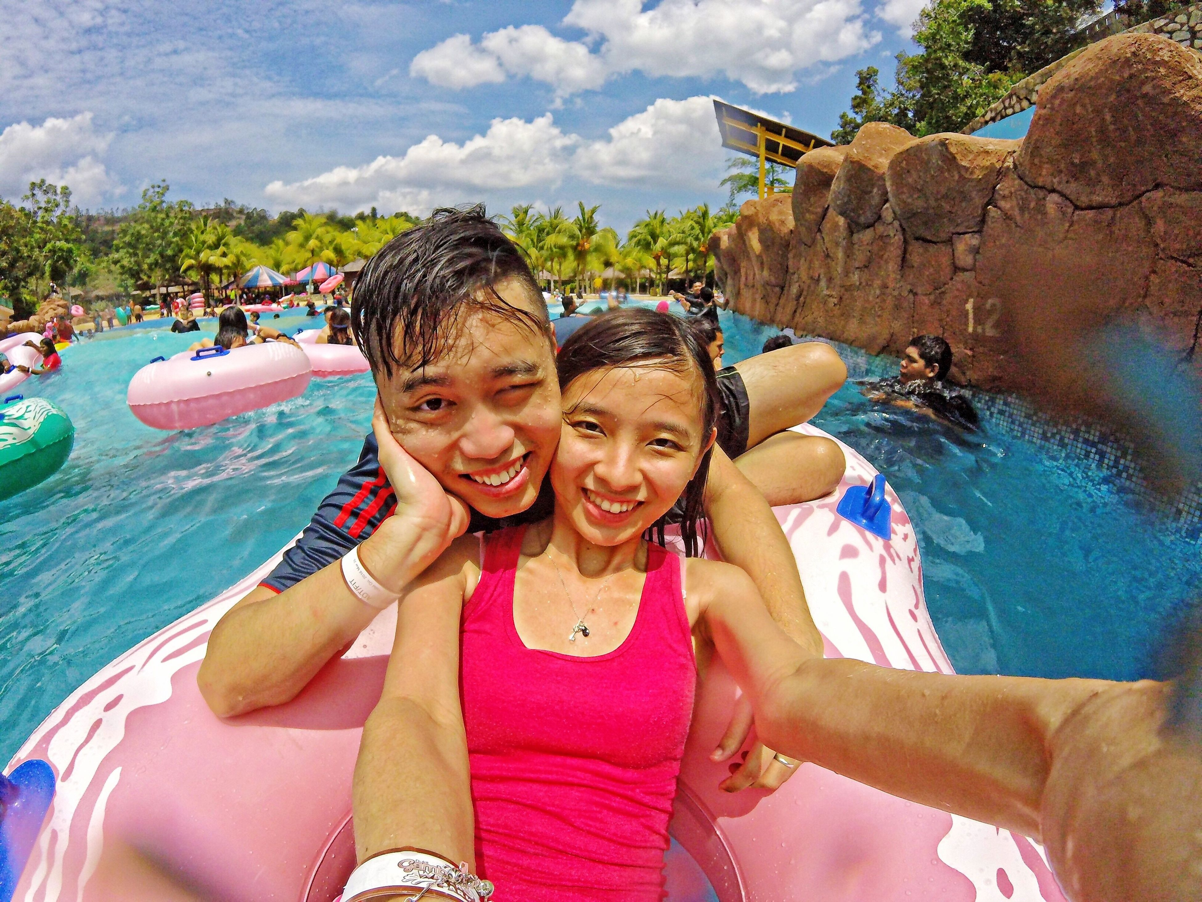 lifestyles, person, leisure activity, looking at camera, portrait, happiness, smiling, vacations, young adult, water, enjoyment, togetherness, front view, fun, sky, casual clothing, young women, bonding, toothy smile