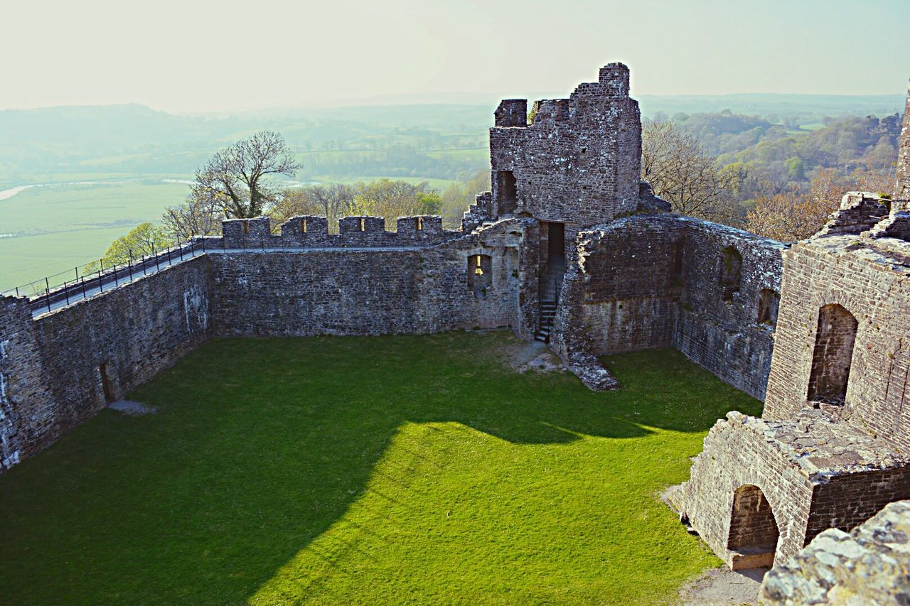 High Angle View Of Old Castle Against Landscape