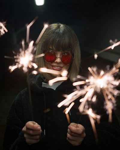 Sparkler Night Illuminated Firework - Man Made Object Sparks Celebration One Person