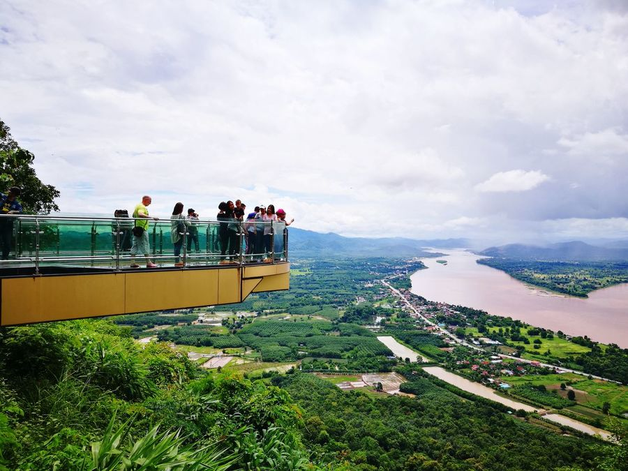 Sky Sky Walk Lanscape Panorama River View Green Grass Nongkhai Thailand Cloud - Sky Horizon Over Water