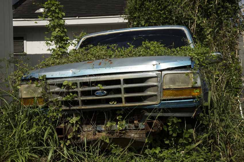 overgrown broken car in backyard Automobile Backyard Broken Car Ford Truck Forgotten Glitch Grass Malfunction Overgrown Abandoned Break Down Car Day Green Color Land Vehicle Lush Green Mode Of Transport No People Outdoors Rusty Transportation Tree