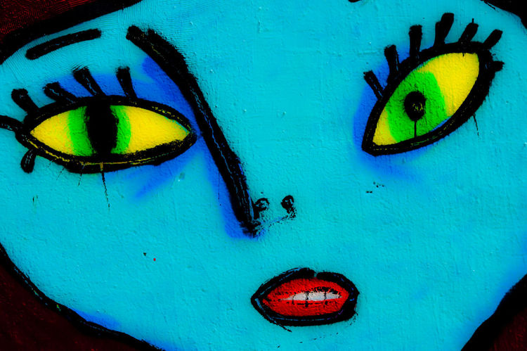 Graffiti Art Face Blue Ephemeral Wall Art Color Palette