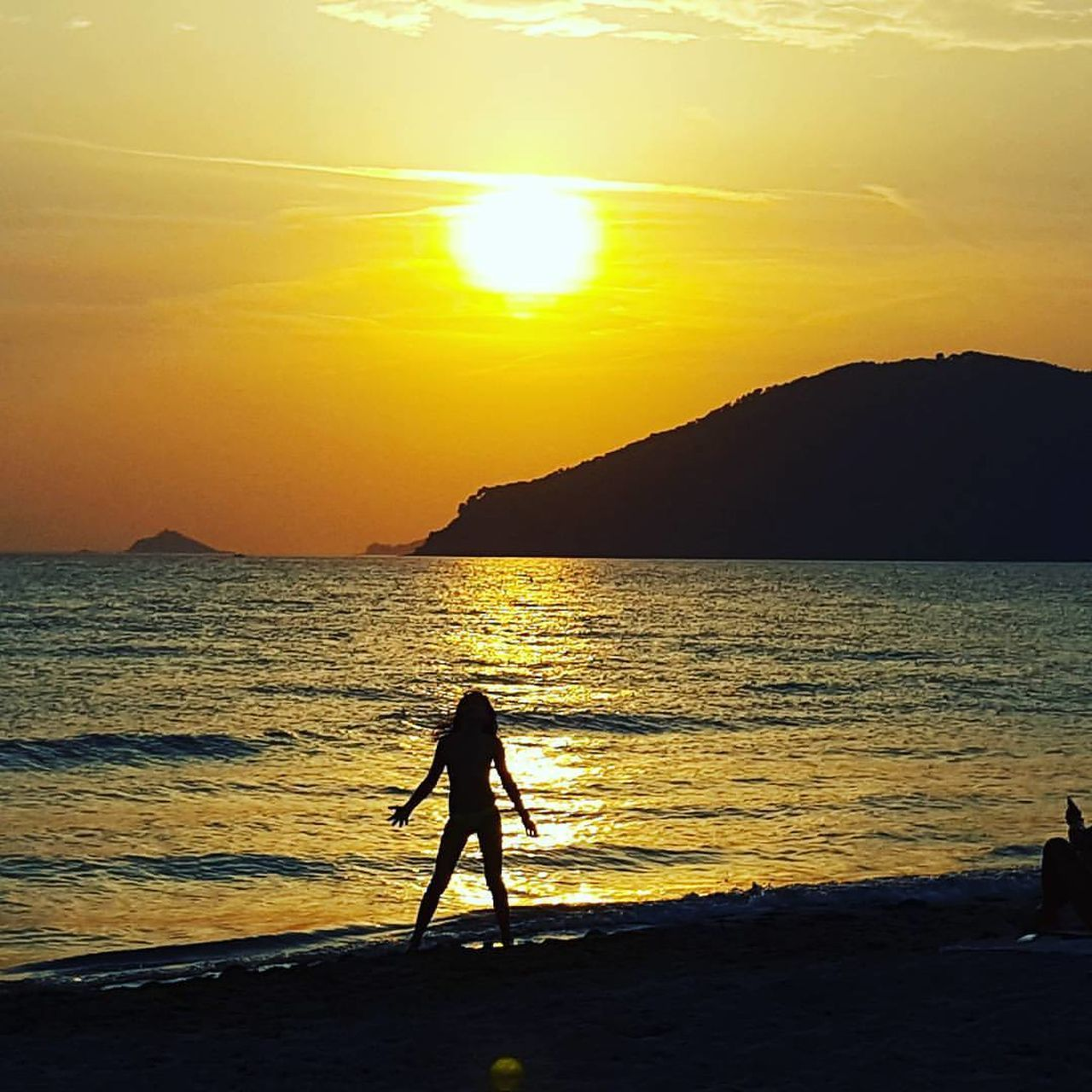 Medditeranian summer Sea Sunset Beach Silhouette Sunlight Beauty In Nature Sand Water Full Length Nature One Person Scenics Outdoors Standing People Adult Only Women Horizon Over Water Sky Sport