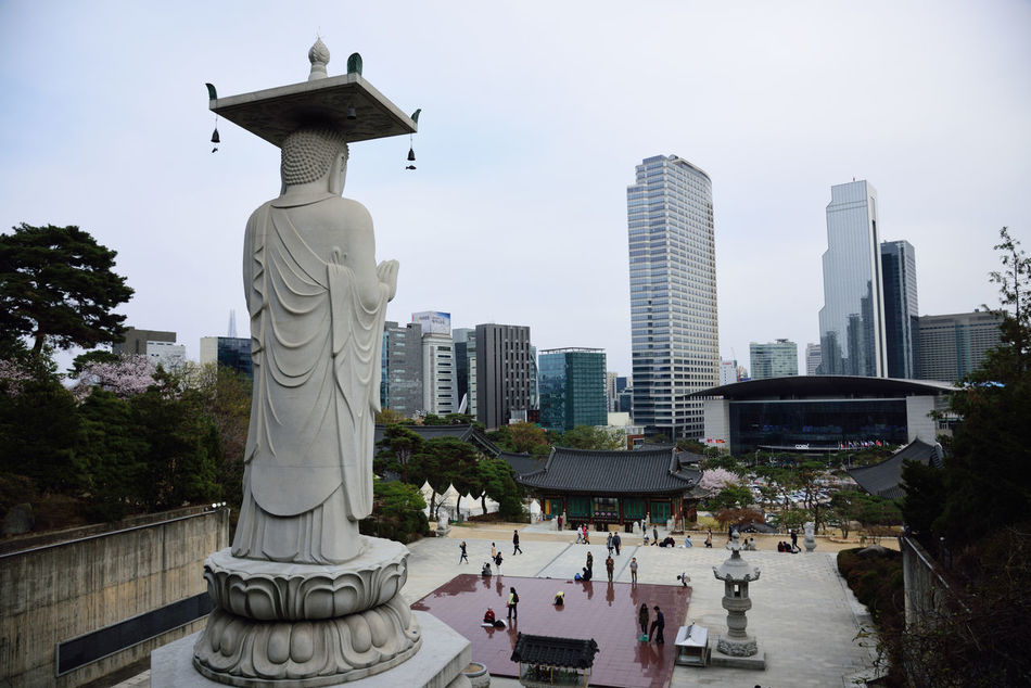 Architecture Building Exterior City Day Human Representation No People Outdoors Sculpture Seoul, Korea Sky Statue Tree Water