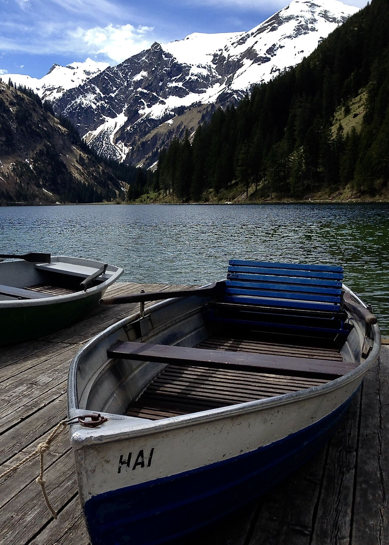 boats at lake in the alps, vilsalpsee Beauty In Nature Boat Forest Greenery Holiday Lake Moored Mountain Mountain Range Nature Nautical Vessel Outdoors Scenics Sky Snow Spring Tannheimer Tal Tranquil Scene Transportation Travel Vilsalpsee Water Wooden The Great Outdoors - 2017 EyeEm Awards