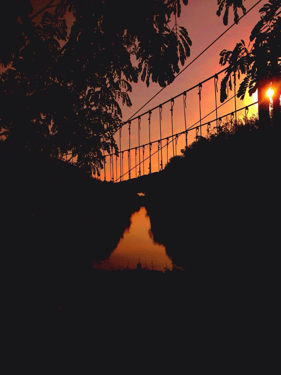 sunset, silhouette, tree, reflection, sky, water, nature, outdoors, no people, architecture, river, scenics, tranquil scene, tranquility, travel destinations, beauty in nature, built structure, growth, city