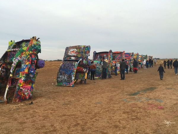 Multi Colored Outdoors Landscape Eye4photography  Scenics ArtWork Arts Culture And Entertainment Artistic Expression Cadillac Ranch Texas Amarillo, TX Road 66  Route 66