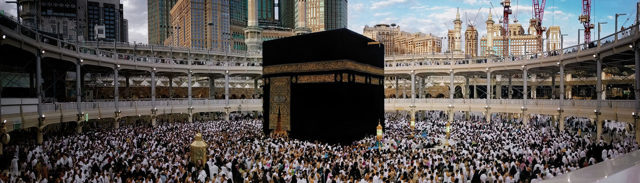 The Ritual of Omra Built Structure Culture Day Kaaba Large Group Of People Makkah Outdoors Panorama People Religion Travel Destinations