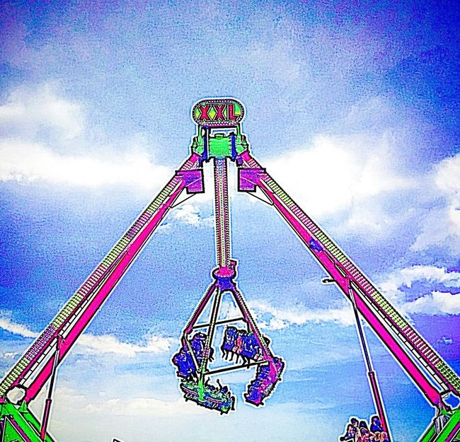 Fairground At The Fun Fair Summer Funfair Ride Funfair Fun Exciting Day Out With Family Rides Attraction Park Theme Park Laughters Screams Joy Happiness Loud Noise Clear Blue Sky Clear Sky