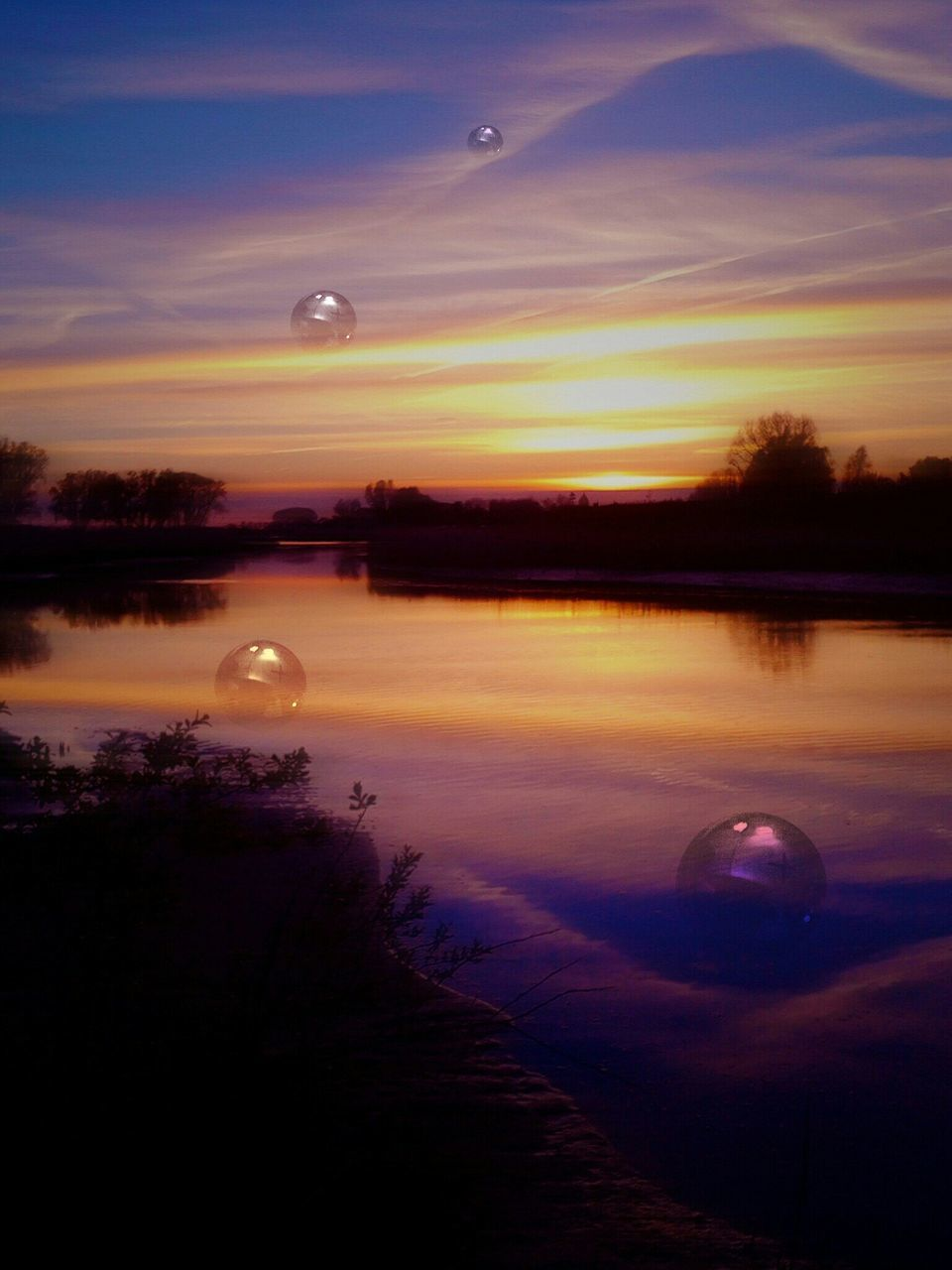 sunset, moon, water, tranquil scene, scenics, sky, nature, lake, tree, beauty in nature, reflection, no people, dusk, mid-air, tranquility, landscape, flying, outdoors, night, astronomy, hot air balloon, galaxy