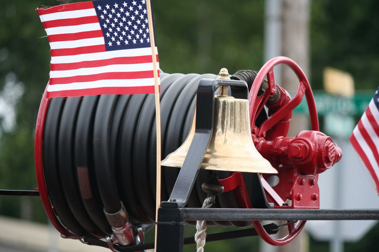 4th Of July 2016 4th Of July Parade American Flag Bell Celebration Fire Hose Parade Vintage