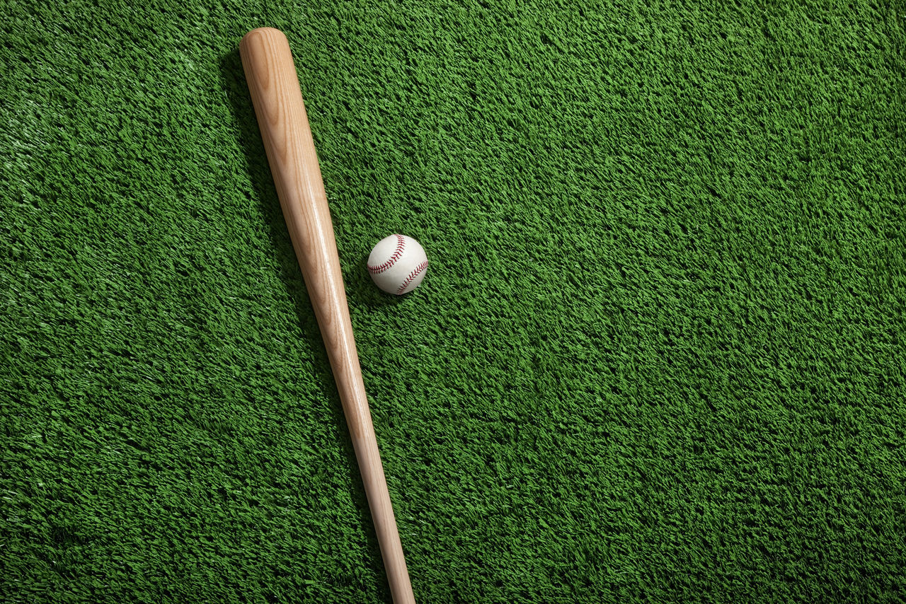 Baseball bat and ball on green turf background viewed from above Baseball Baseball Bat Bat Color Image Field Grass Green No People Overhead View Photography Playing Field Turf Viewed From Above