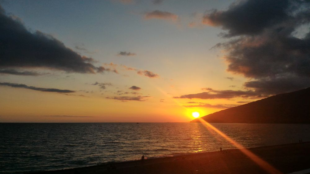Gagra Abkhazia Sunset Sea Black Sea Гагра абхазия Sky Clouds Sunset Sky 43 Golden Moments Sun Scenics Water Orange Color Beauty In Nature Tranquil Scene Tranquility Nature Idyllic Sunlight Horizon Over Water Beach Reflection No People Outdoors Silhouette