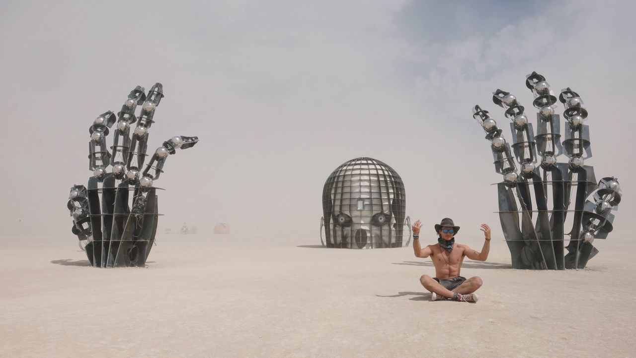 My favourite artwork out at burning man this year Sky Full Length Leisure Activity Real People Outdoors Sculpture Young Adult Men Day Art ArtWork Burningman