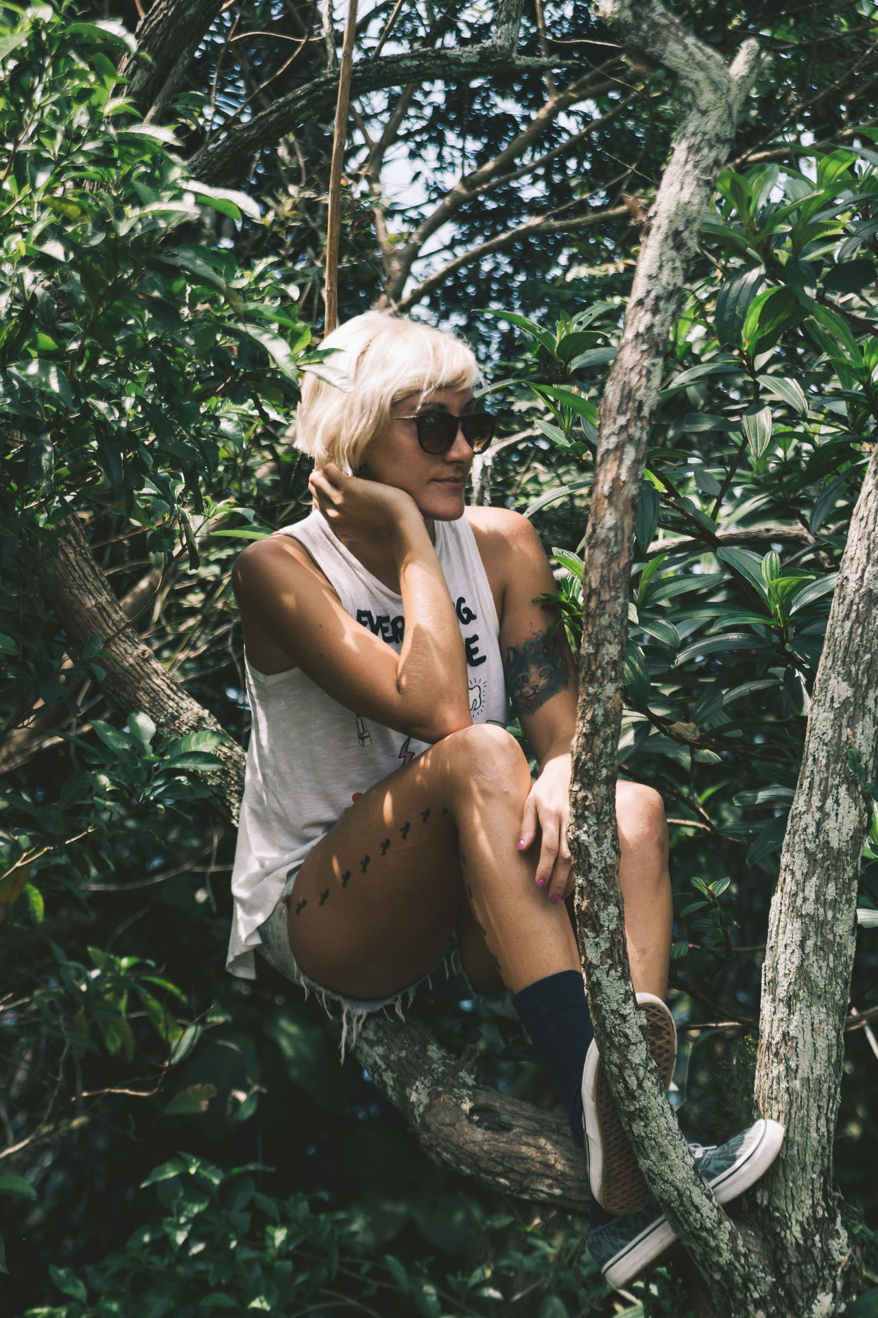 Agnes hanging out in the trees on top of Dois Irmaos. Blond Hair Climbing Day Forest Girl Jungle Leisure Activity Lifestyle Lifestyles Nature One Person Outdoors People Portrait Portrait Of A Woman Portrait Photography Pose Real People Shades Sunglasses The Portraitist - 2017 EyeEm Awards Tree Woman Young Adult Young Women Live For The Story