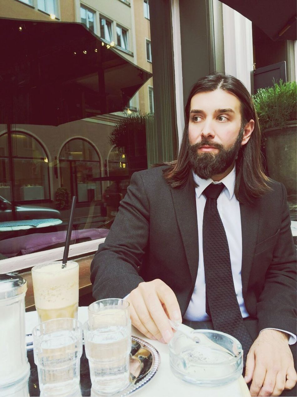 Coffee Beardman Beards Beard Long Hair Man Suit