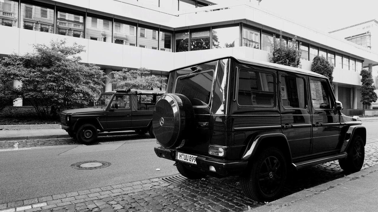 Two Is Better Than One Mercedes Gklasse Jeep SUV Transportation Hanover City Blackandwhite Black And White Streetphotography Cityscape Street Photography City Life