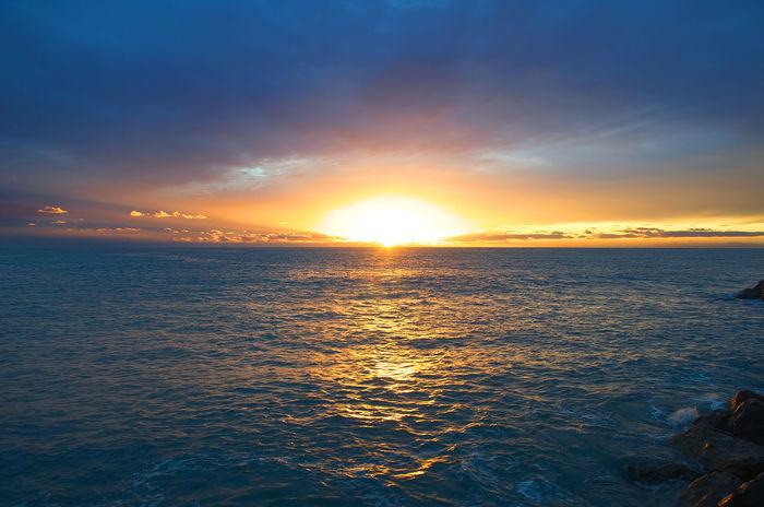 Sunset on Ligurian sea - Tigullio gulf - Italy Dramatic Sky Mediterranean  Orange Scenic Beauty In Nature Cloud - Sky Gulf Horizon Horizon Over Water Idyllic Italy Liguria Ligurian Sea Nature Orange Color Riviera Scenics Sea Sky Sun Sunset Tigullio Tranquil Scene Tranquility Water