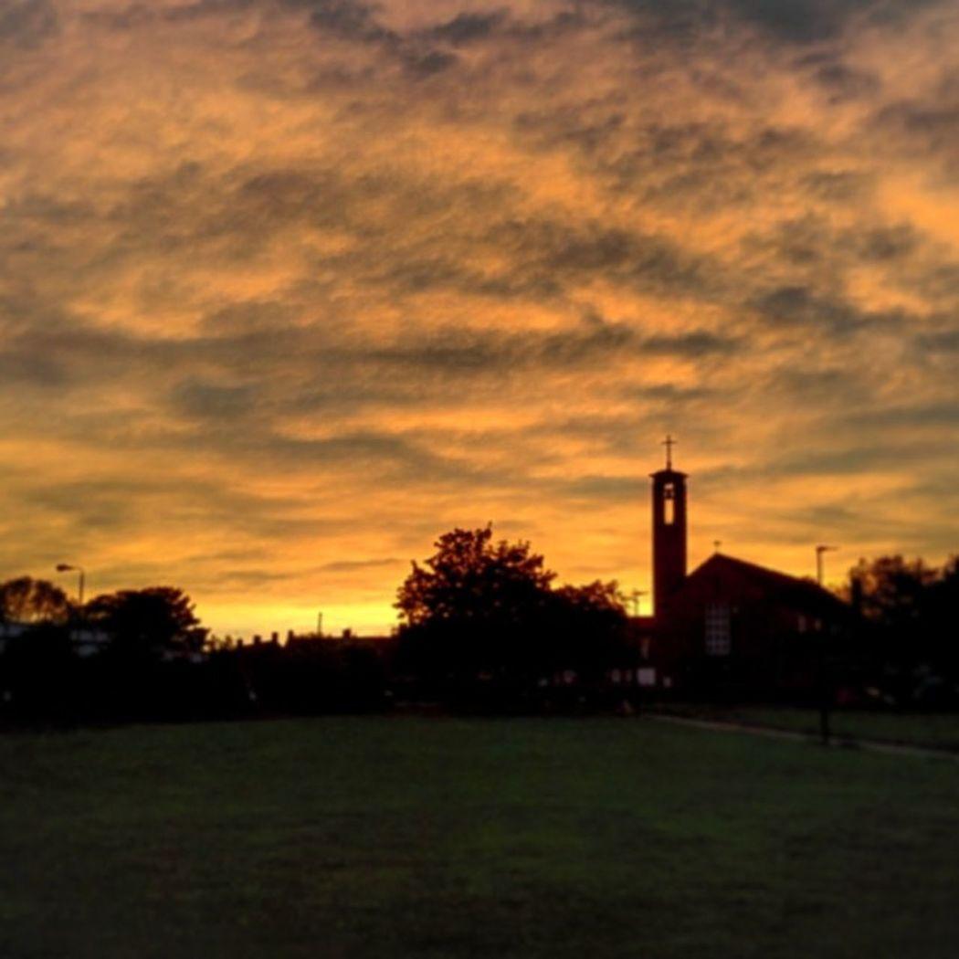 Bristol City England Southmead sunset cloud tree nature nature_photo church nofilter