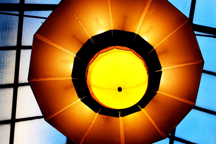 #colours #melbourne Architectural Design Ceiling Circle Close-up Directly Below Geometric Shape Illuminated Low Angle View No People Orange Color Yellow