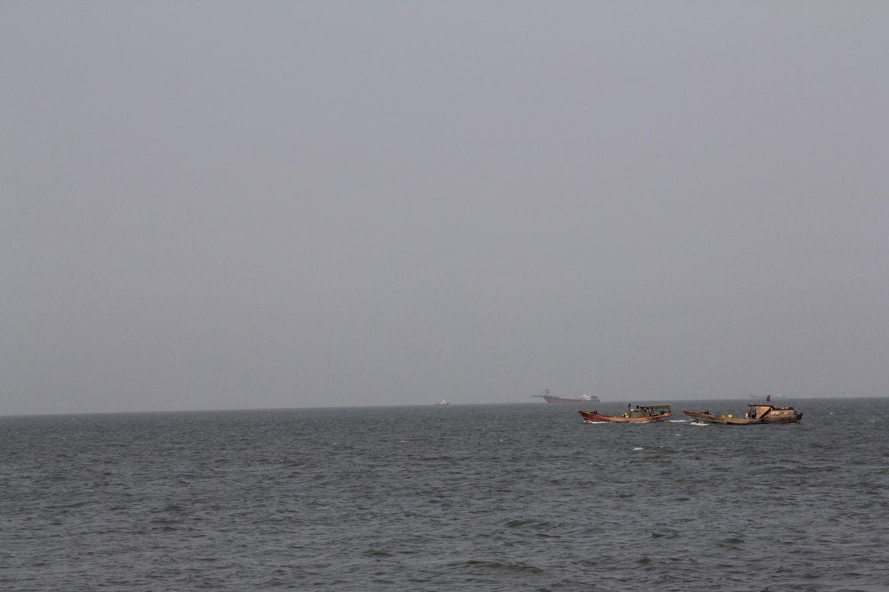 Fishing boats - I think Sea Nautical Vessel Horizon Over Water Transportation Outdoors Sailing Day Zhuhai Ships Gray Sky