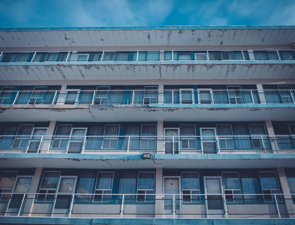 Balconies Blue Sky Looking Up Low Angle View Low Perspective Motel Old Windows