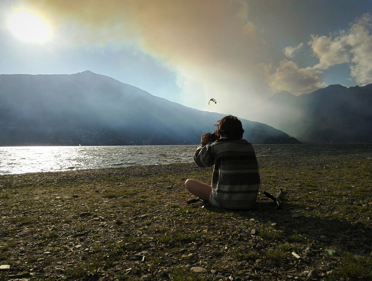 Two People Only Men People Adults Only Adult Outdoors Men Day Nature Sky Lake Lake View Wind Windy Cloud - Sky Clouds And Sky Photography Water Burn Smoke Italy Girl Grass Mountain Sun