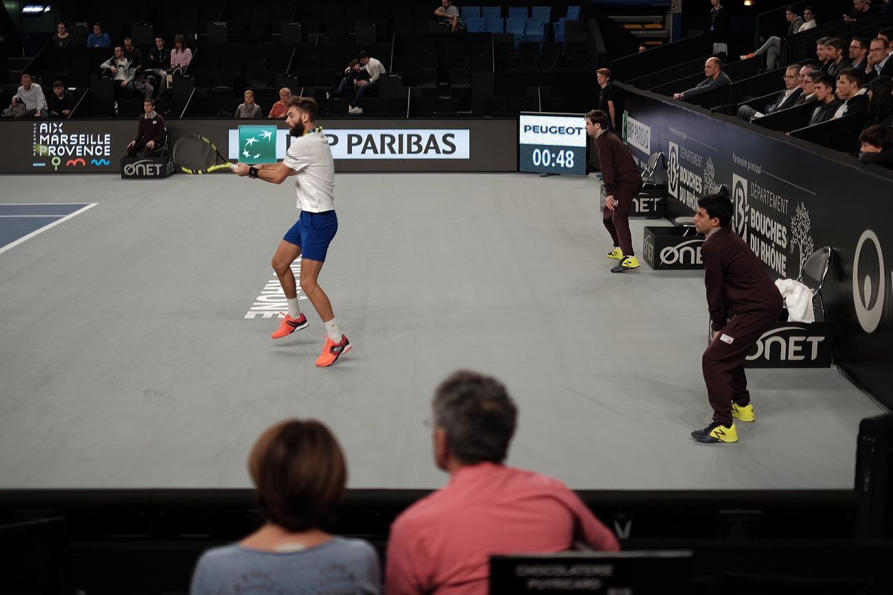 Paire's Backhand Sport Skill  Leisure Activity Men Competition People Competitive Sport Match - Sport Adult Sportsman Stadium Adult Fujifilm X-E2 Tennis 🎾 Athlete Crowd
