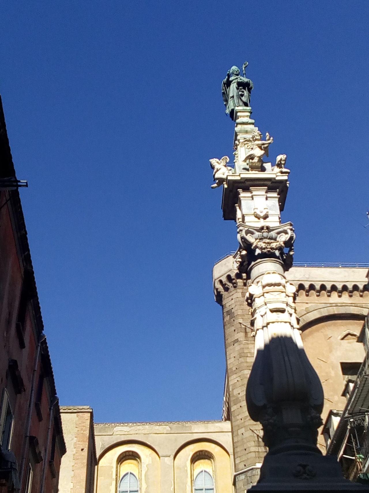 Architecture Building Exterior Church Church Famous Place History Napoli Obelisk Place Of Worship Religion Saint Statue San Gennaro Spirituality Square Via Dei Tribunali