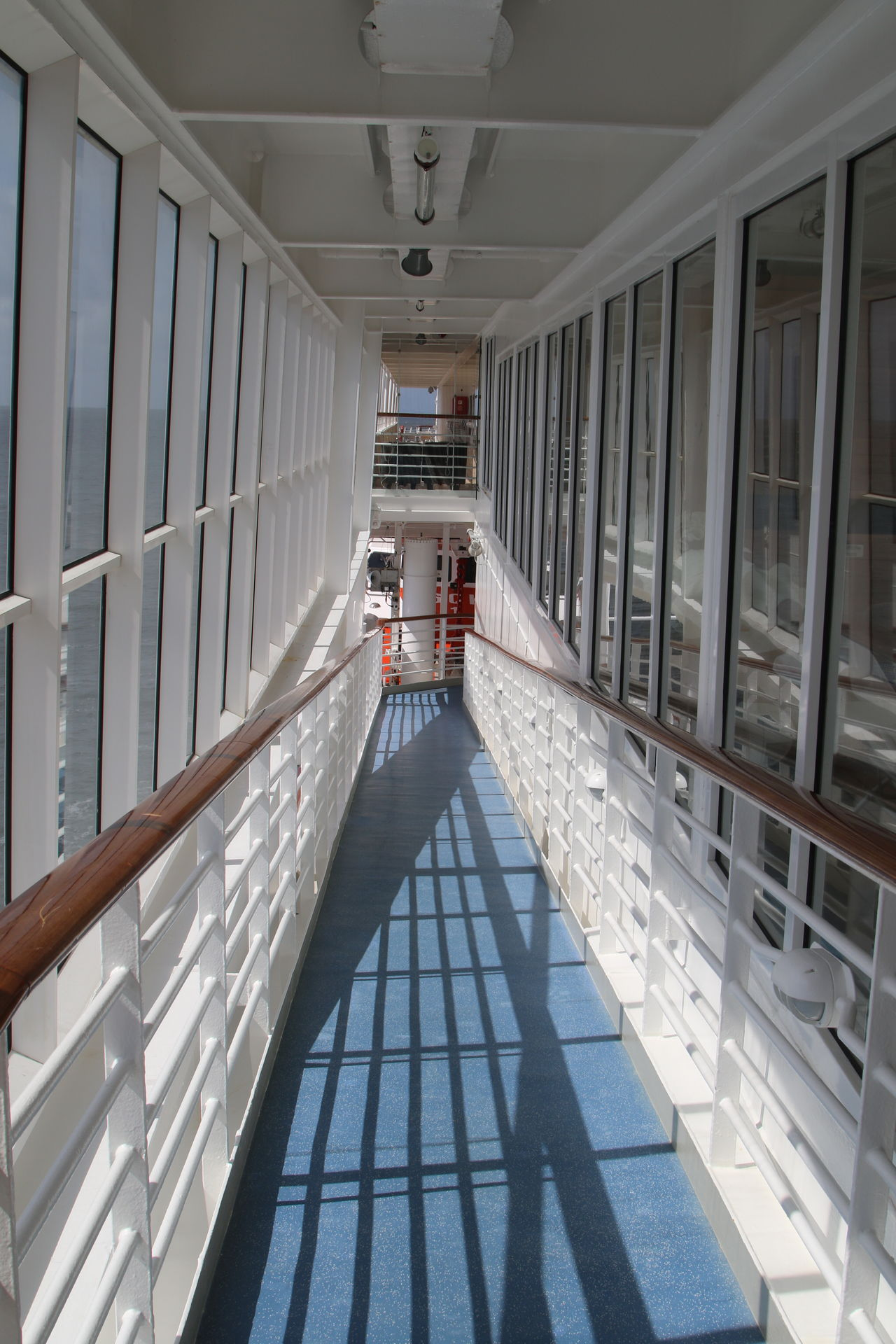 Cruise Ship Cruiseship Day Downstairs Gally Hallway Railing Ship Summer Sunny Tunnel Vision