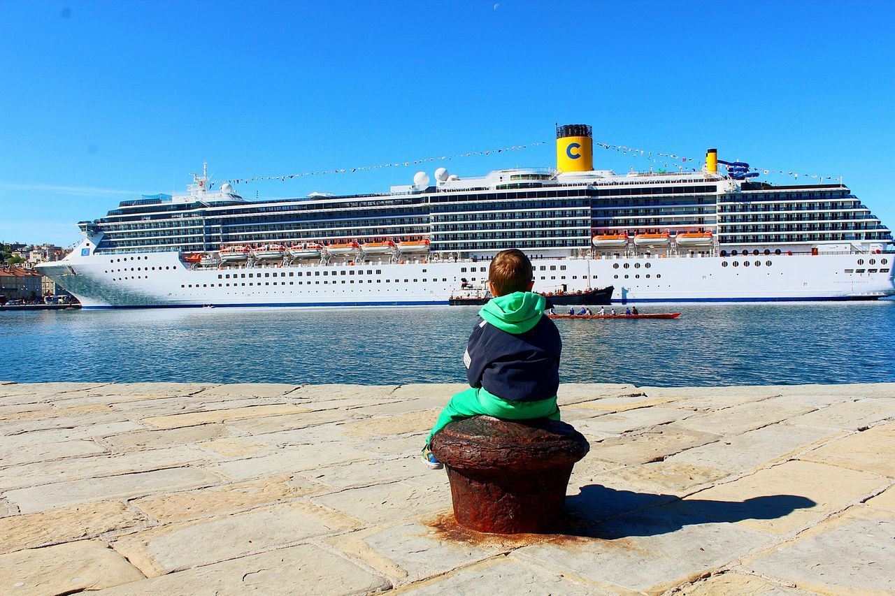 Great View Great Outdoors Ships At Sea Atmospheric Mood Sitting Here Thinking It Through... Sitting Outside Sitting Cruise Ship Cruise Ship Photos Me And My Shadow Tranquility Tranquil Scene Sea Outdoors Tourist Attraction  Tourism Port Dock Daydreaming Day Mediterranean Sea Trieste Feel The Journey