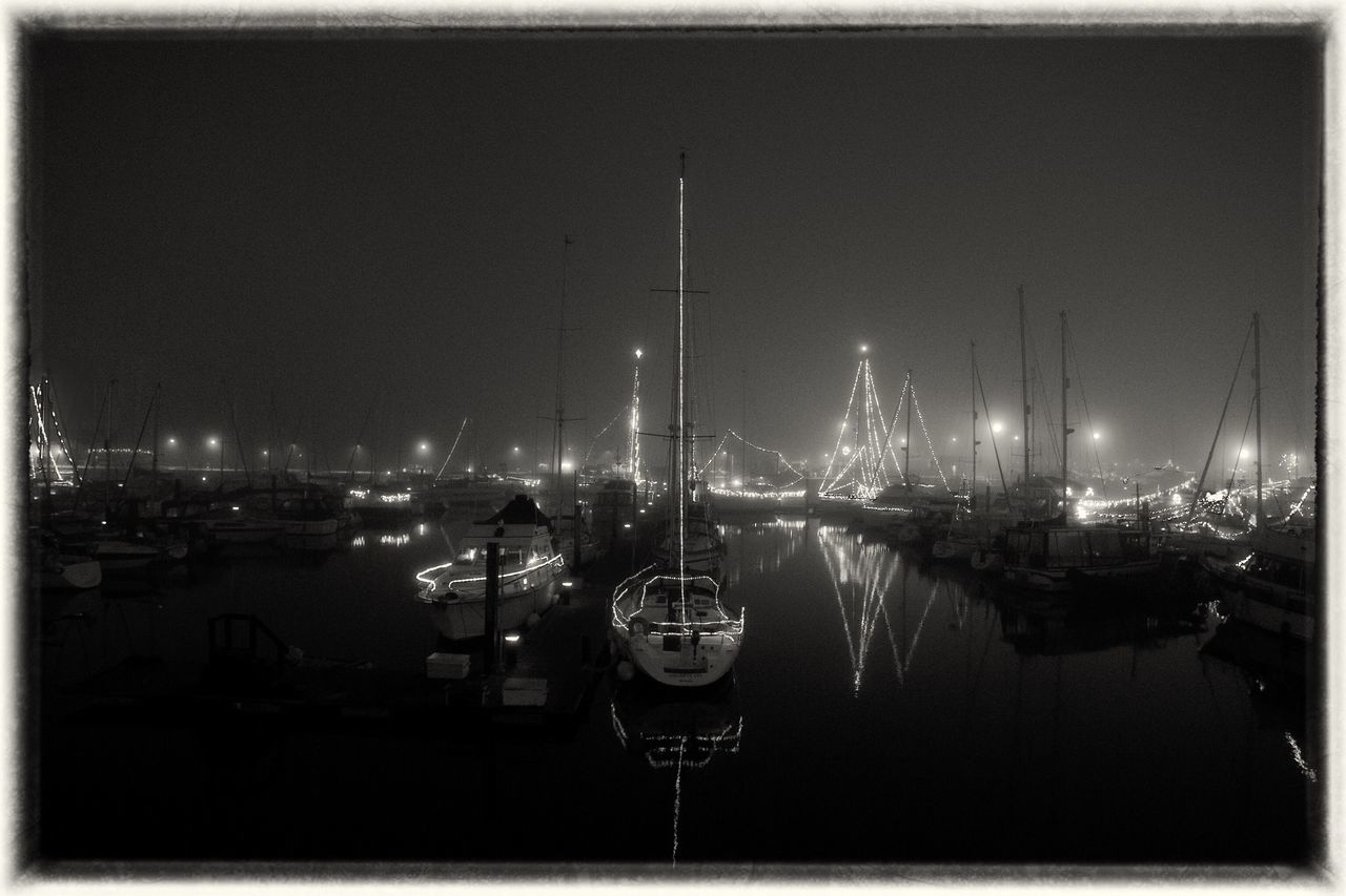 Night Nautical Vessel Water Moored Yacht Up Close Street Photography Film Noir Ramsgate Black & White Streetphoto_bw Happiness Christmas Around The World Streetphotography Harbor Night Reflection Fog Illuminated Sea