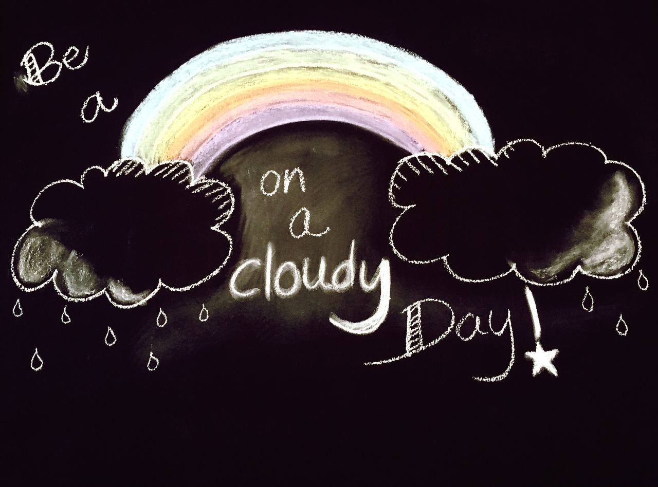 Chalkboard Wall Text Rainbow Cloudy Day Rainy Days Raindrops Clouds