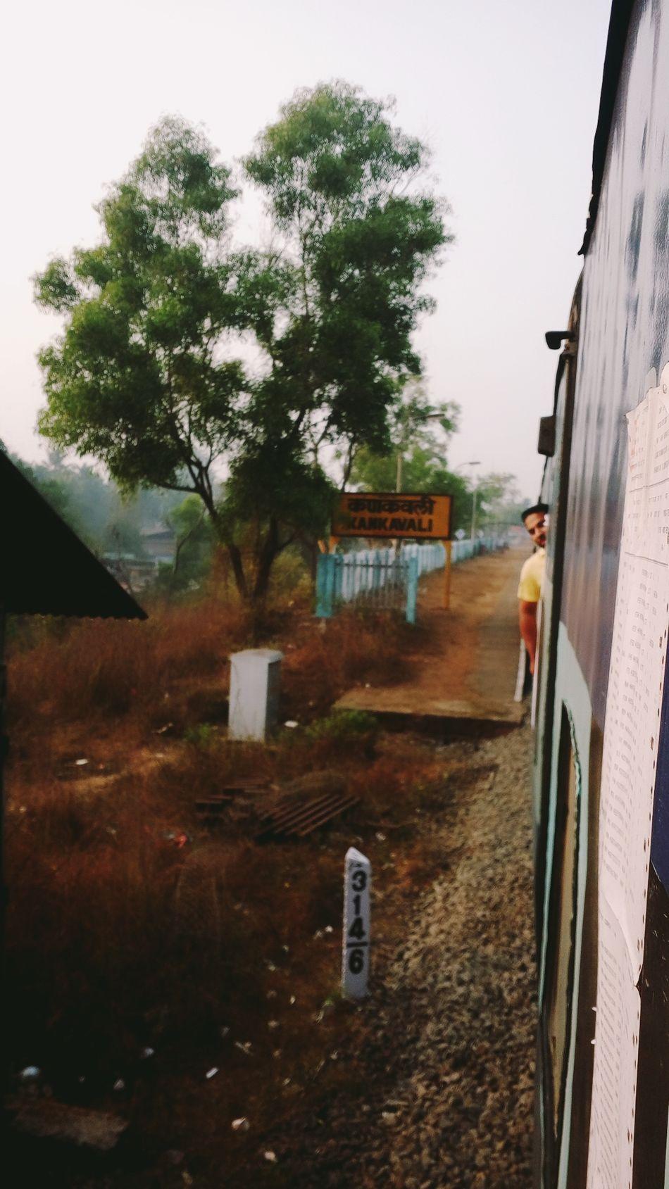 Indianrailways Konkanrailways Konkandiaries Rail Transportation Departing Tree Outdoors Netravatiexpress