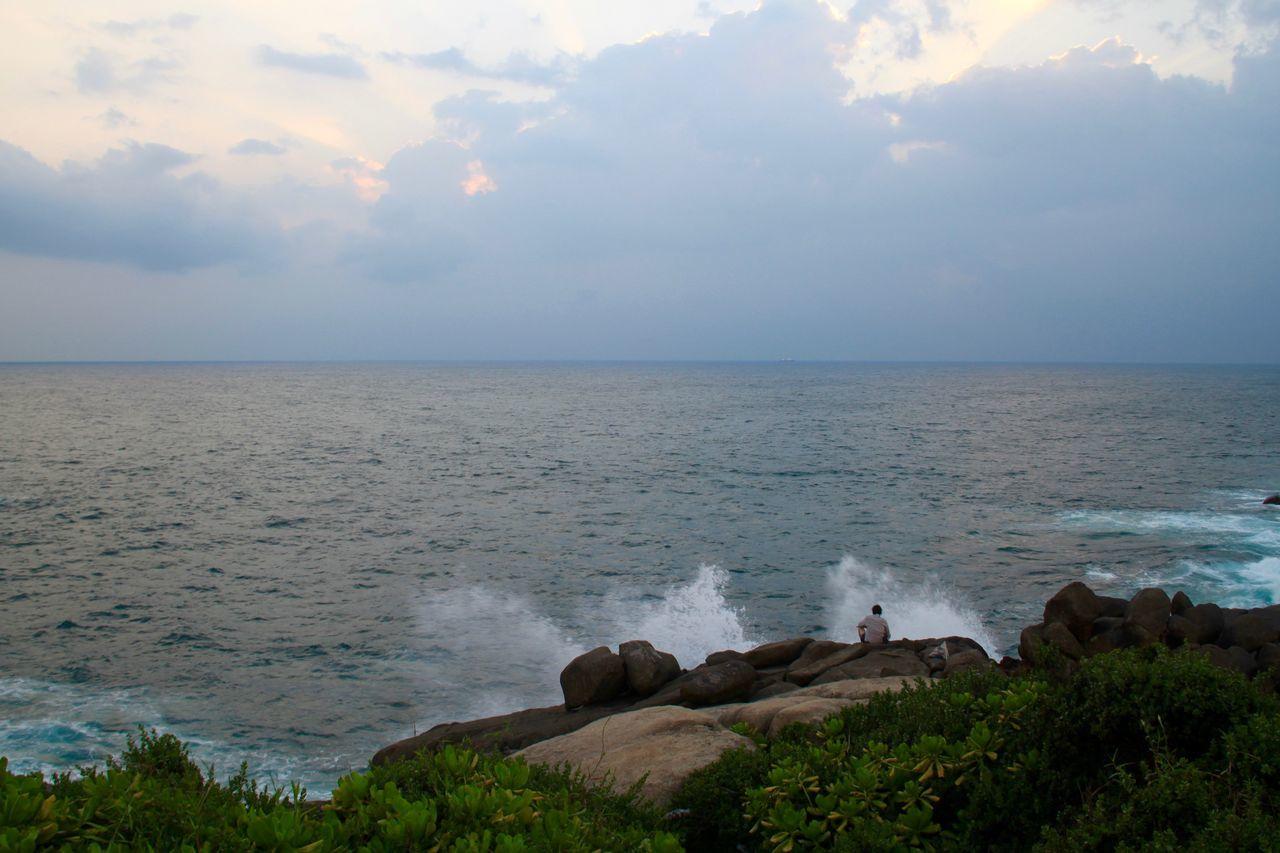 Beauty In Nature Coastline Horizon Over Water Landscape Nature Ocean Ocean View Outdoors Postcard Rock - Object Scenics Sea Sri Lanka Sunset Unawatuna Water Wave