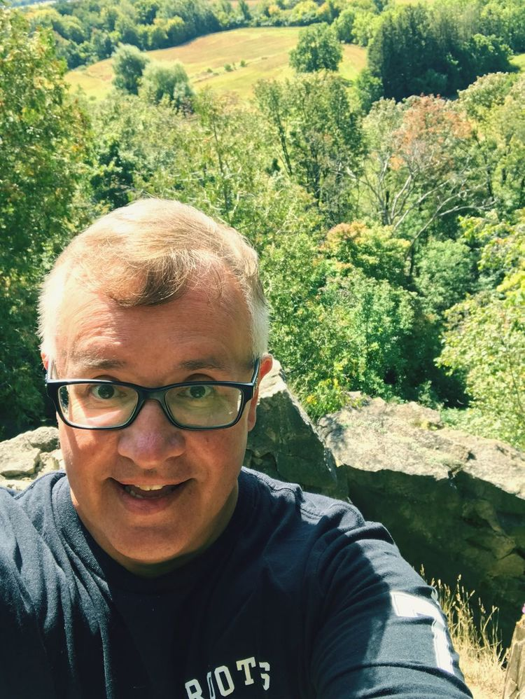 Looking At Camera Mature Adult Outdoors Lifestyles Eyeglasses  Smiling Happiness Hiking Adventures Rattlesnake Point Cliffs