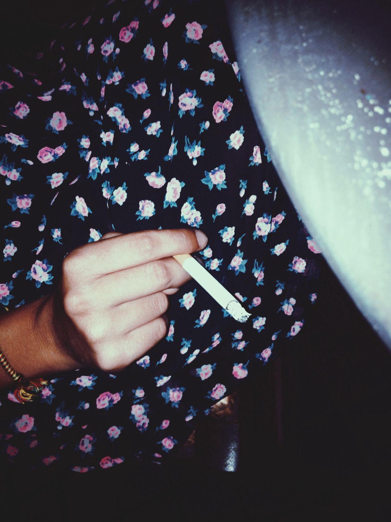 Ciggar Smoking Floral Skirt Grunge