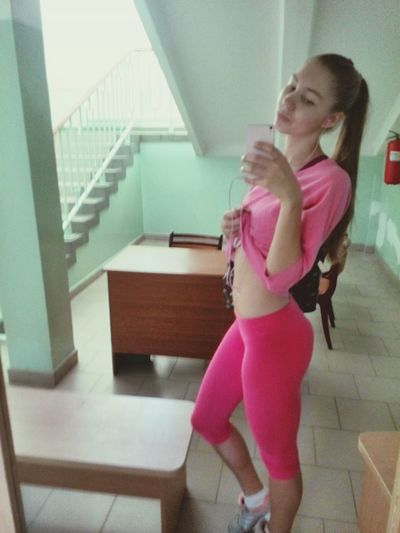 Girl Check This Out Gym Girls Hanging Out total pink look after gym)