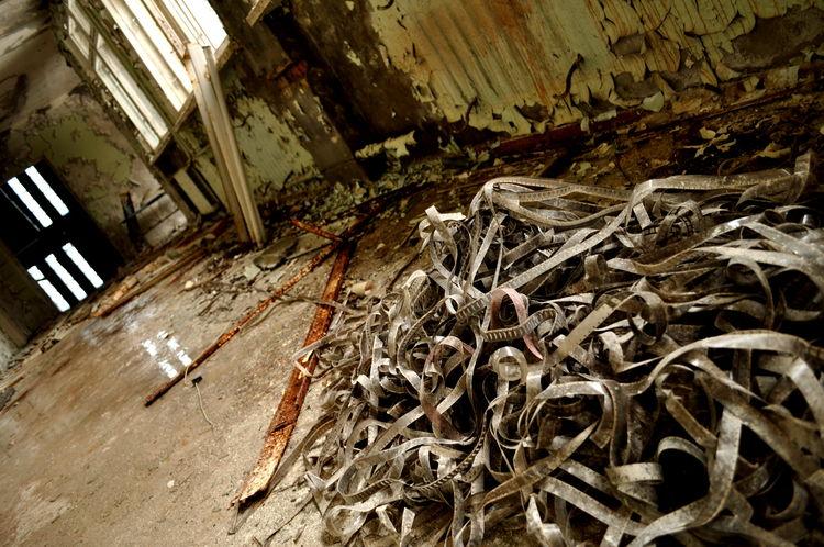 Broken Chernobyl Destroied Filmroll Indoors  Interior Old Tschernobyl